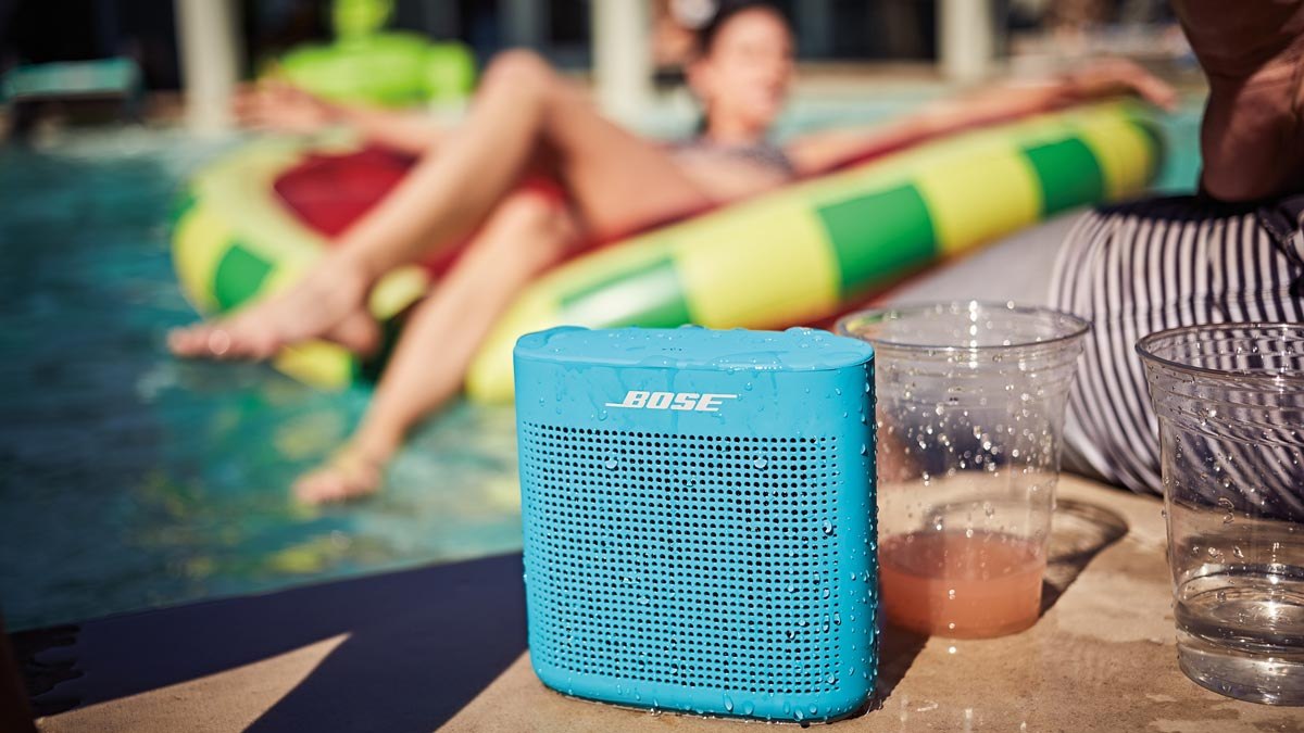 Image of wireless bluetooth speaker at the pool