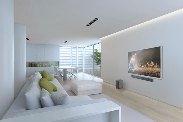 Image of TVB2 connected to TV in modern living room