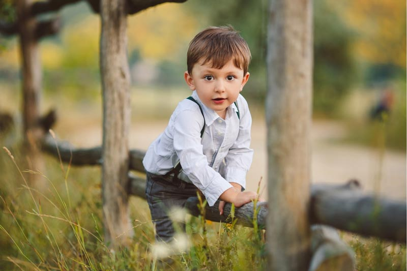 Image of young boy on a wooden fence