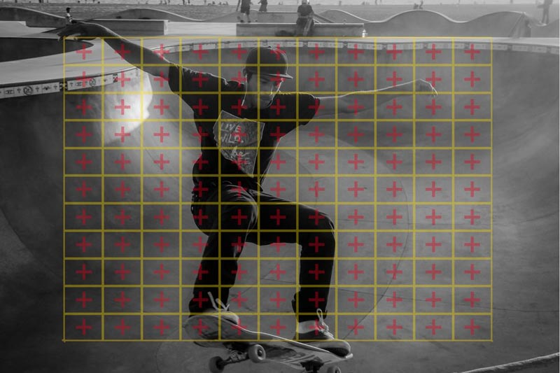 Image of focusing screen overlaid on skateboarder