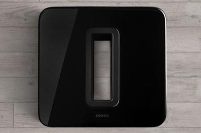 Front and center or out of sight. Image of the Sonos Sub laying down