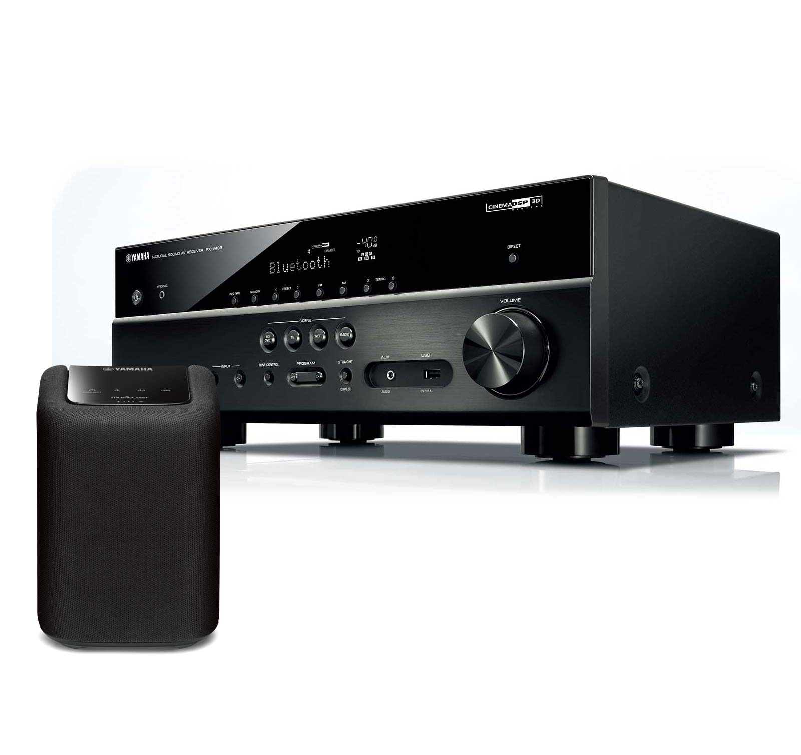 yamaha rx v483 av receiver and wx010 black wireless speaker musiccast kit ebay. Black Bedroom Furniture Sets. Home Design Ideas