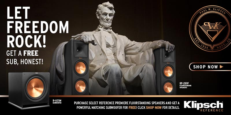Purchase select speakers from Klipsch and receive a R-110SW, R-112SW, or R-115SW