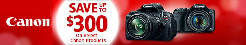 Save up to $300 on Select Canon Cameras and Lenses