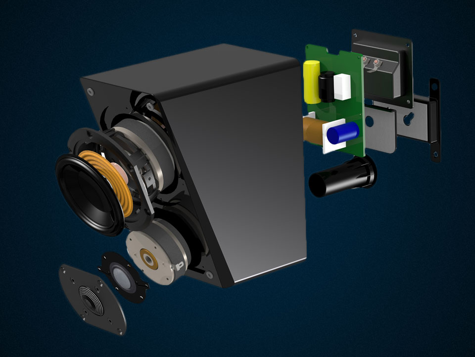 Exploded view of speaker with parts and components.