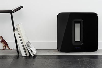 Quite a looker. Image of the Sonos Sub by wall.